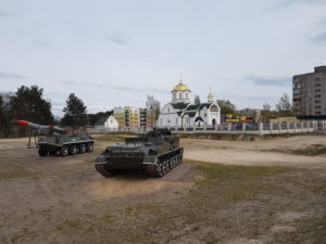 Church and tanks in Belarus
