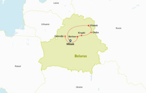 Route map of tour in Belarus
